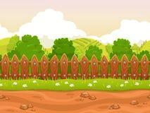 Безшовный ландшафт страны шаржа Стоковое Изображение RF