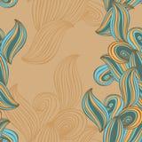 Безшовный беж и синь предпосылки волны картины вектор Стоковые Фото