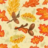 Безшовный вектор листьев и жолудей дуба текстуры иллюстрация штока