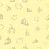 Безшовный вектор картины кофе и торта Стоковые Изображения