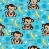 Безшовный вектор картины обезьяны и банана Стоковые Изображения