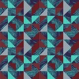 Безшовный вектор картины с красочными листьями ладони и геометрическим треугольником стоковые изображения
