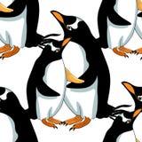 Безшовный вектор папуасския пингвина Субантарктика картины Стоковые Изображения