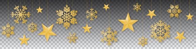Безшовный вектор рождества зимы с великолепными вися снежинками и звездами покрашенными золотом на прозрачной предпосылке иллюстрация вектора