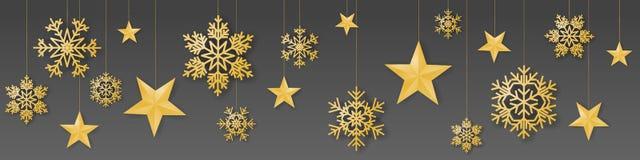 Безшовный вектор рождества зимы с великолепными вися снежинками и звездами покрашенными золотом на серой предпосылке иллюстрация вектора