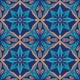 безшовный вектор текстуры Орнамент для керамической плитки Картина португальских azulejos декоративная Стоковое фото RF