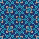 безшовный вектор текстуры Орнамент для керамической плитки Картина португальских azulejos декоративная Стоковое Изображение