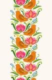 Безшовный вертикальный элемент картины в восточно-европейском folkloric стиле также вектор иллюстрации притяжки corel Бесплатная Иллюстрация
