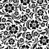 Безшовный винтажный черный цветочный узор также вектор иллюстрации притяжки corel иллюстрация вектора