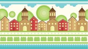 Безшовный горизонтальный элемент картины Спокойная деревня в плоском простом стиле иллюстрация штока