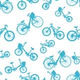 Безшовный голубой вектор велосипеда велосипеда иллюстрация штока