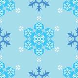 Безшовный голубой предпосылки снежинки тона Стоковые Изображения