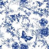 Безшовный дизайн с цветками роз Линия графики картины руки леса сказки вычерченная винтажная ботаническая дизайн i ткани моды иллюстрация вектора