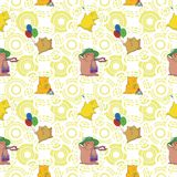 Безшовный, животные игрушки шаржа Стоковая Фотография RF
