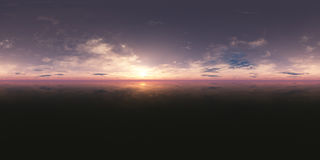 Безшовный заход солнца панорамы 360 неб иллюстрация штока