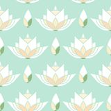 Безшовный дизайн картины мозаики с лотосом Стоковое Фото