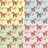 Безшовный дизайн предпосылки с милыми собаками и кошками бесплатная иллюстрация