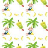 Безшовный дизайн с обезьянами и бананами Стоковые Фотографии RF