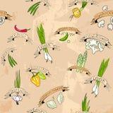 Безшовный дизайн с овощами Стоковая Фотография