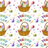 Безшовный дизайн с пасхальными яйцами в корзине иллюстрация вектора