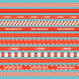 Безшовный комплект красных лент баррикады иллюстрация вектора