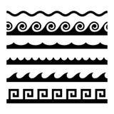 Безшовный комплект картины волны лавр граници покидает вектор шаблона тесемок дуба бесплатная иллюстрация