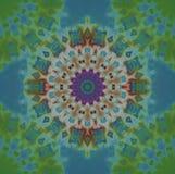 Безшовный концентрический орнамент голубой и войденная зеленая Стоковые Фотографии RF
