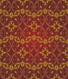 Безшовный красный цвет & картина золота флористическая элегантная Стоковые Фотографии RF