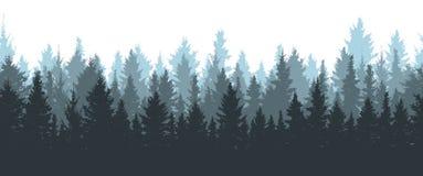 Безшовный лес зимы, силуэт спрусов иллюстрация вектора