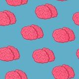 Безшовный мозг пинка картины на голубой предпосылке, иллюстрации вектора иллюстрация вектора