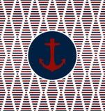 Безшовный морской дизайн предпосылки вектора картины при диамант смотря формы сделанные от прямоугольника и квадратов и красного  Стоковые Изображения