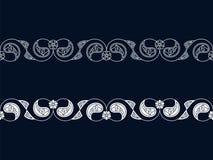 Безшовный набор вектора с 2 индийскими флористическими границами дизайн для woodblock, рамки, печати безшовный шаблон в панели об бесплатная иллюстрация