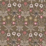 Безшовный одуванчик стоцвета картины установил реалистическую изолированную иллюстрации вектора предпосылки цветков гравировку ви стоковая фотография