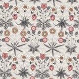 Безшовный одуванчик стоцвета картины установил реалистическую изолированную иллюстрации вектора предпосылки цветков гравировку ви стоковое изображение rf