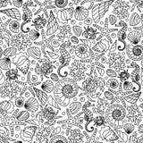 Безшовный орнамент вектора от изображений плана морских животных и растений Стоковое Изображение RF