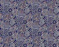 Безшовный племенной цветочный узор иллюстрация вектора