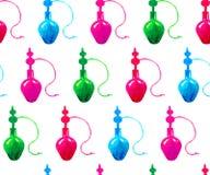 Безшовный силуэт голубой, зеленые, розовые красные кальяны акварели картины на белой предпосылке иллюстрация штока