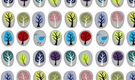 Безшовный с абстрактными деревьями иллюстрация вектора