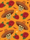 Безшовный с мексиканским черепом Стоковые Фотографии RF