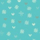 Безшовный с снежинками, сердцами и ангелами Стоковая Фотография