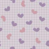 Безшовный с чернилами покрасил сердца на листе не Стоковая Фотография RF