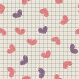Безшовный с чернилами покрасил сердца на листе не Стоковые Фотографии RF