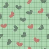 Безшовный с чернилами покрасил сердца на листе не Стоковая Фотография