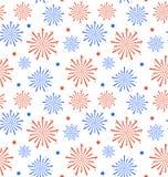 Безшовный фейерверк на День независимости США, обои картины Стоковое Изображение RF