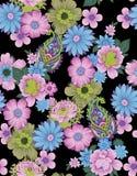 Безшовный флористический цветок Пейсли с черной предпосылкой иллюстрация вектора