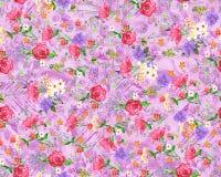Безшовный флористический цветок с цифровой предпосылкой бесплатная иллюстрация