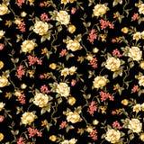 Безшовный флористический цветок с черной предпосылкой иллюстрация вектора