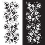 Безшовный флористический орнаментальный элемент для создавать границы, рамки Стоковое Изображение RF