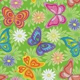 Безшовный, цветок и бабочка Стоковая Фотография RF