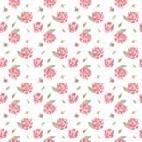 Безшовный цветочный узор акварели с розовыми пионами иллюстрация вектора